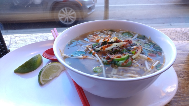 a bowl of pho from the Vietnamese restaurant Fuh in Lincoln Park, Chicago