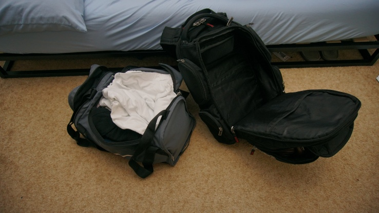 duffel packed and ogio backpack