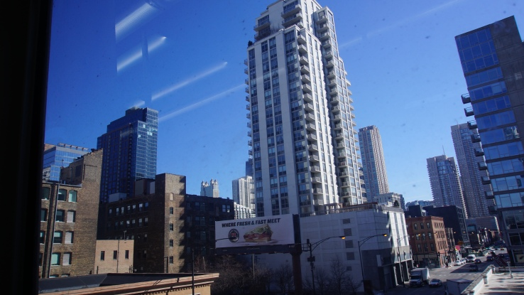 a view of Chicago via the Chicago Transit Authority train