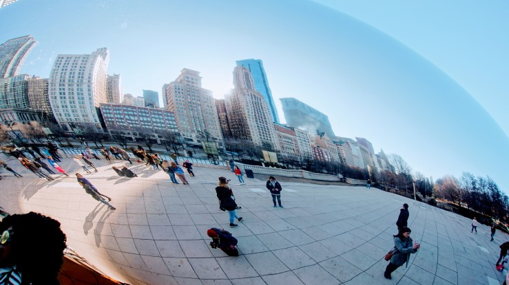 The Cloud Gate at Millennium Park in Chicago