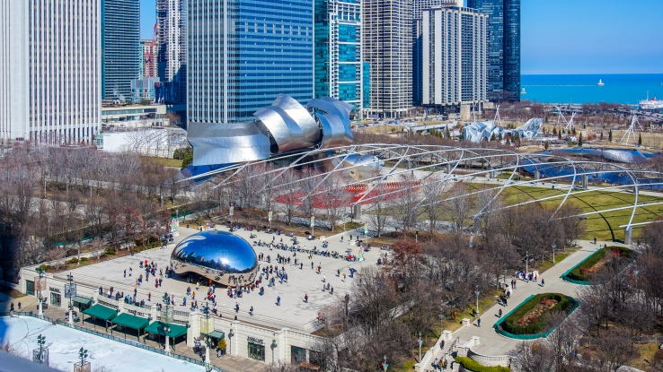 a view of millennium park from the restaurant Cindy's