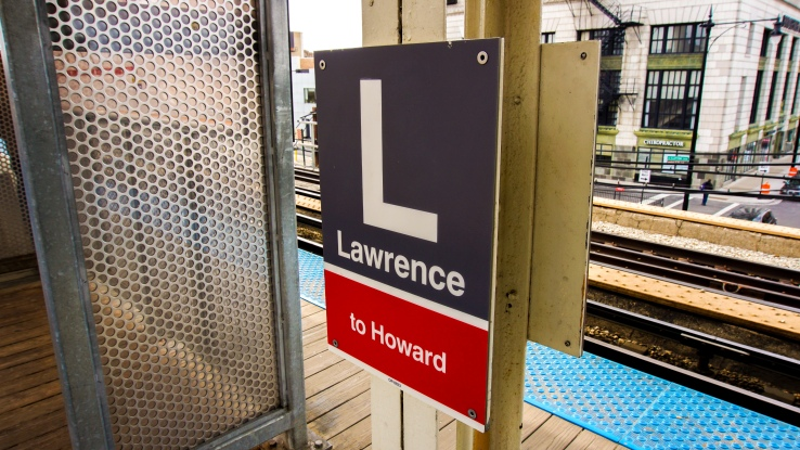 Lawrence stop on the red line for Chicago Transit Authority to Howard