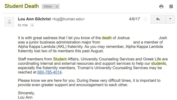 email from Truman State University about recent suicide of student