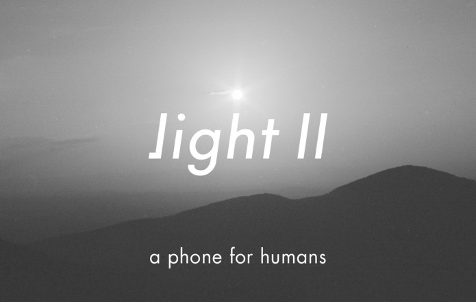 "a photo of the light phone 2 and its tagline, ""a phone for humans"" pulled from its indiegogo campaign"